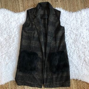 ZARA Plaid Fur Pocket Vest Small